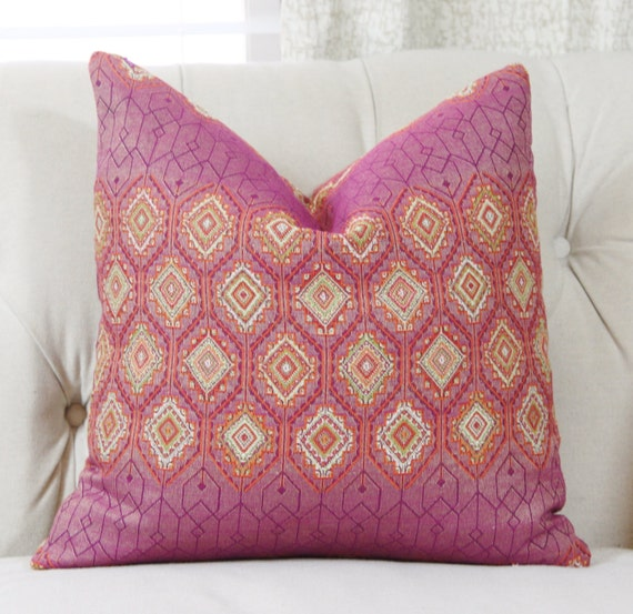 Pink Moroccan Pillow Cover Modern Pink Orange Pillow Cover