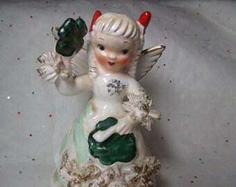 Vintage NAPCO March Birthday Angel Figurine Clover Shamrock