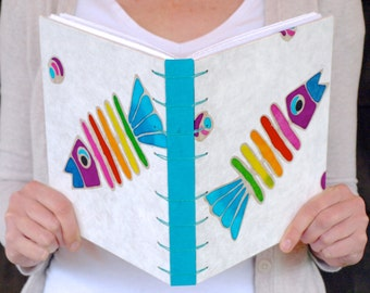 Rainbow Fish Sketchbook or Journal with Cerulean Sea Blue Spine