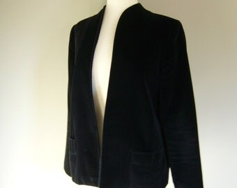 Vintage BLACK VELVET BLAZER/Jacket/Size Small-Medium