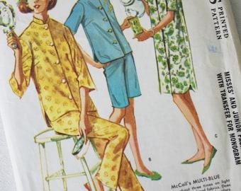 Vintage Pattern: McCall's Misses' and Junior Pajamas Nightshirt Pattern Sz 11 1962