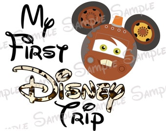 My First Disney Trip Cars Tow Mater Lightning McQueen Custom DIY Printable Iron On Transfer Disney