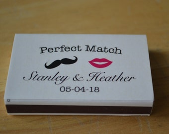 125 Custom Designed Matchbox Wedding Favors - Mustache & Lips