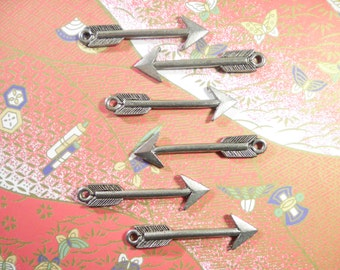 6 Silverplated 40mm Arrow Charms