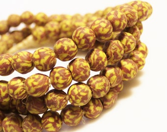 50 Brown and Yellow African Recycled Glass Beads, Ethnic Beads (P91)