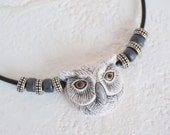 Gray Owl Necklace, Owl Jewelry, Ceramic Owl Pendant Necklace, Animal Necklace, Bird Jewelry, Owl Totem Necklace, Men's Owl Necklace, Gift