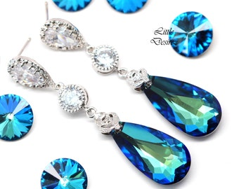 Bridal Earrings Bermuda Blue Earrings Bridesmaid Blue Earrings Teal Earrings Aqua Sea Green Peacock Swarovski Elements Cubic Zirconia BB33PC