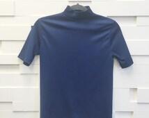 vintage navy blue mod turtleneck | small | the smart top