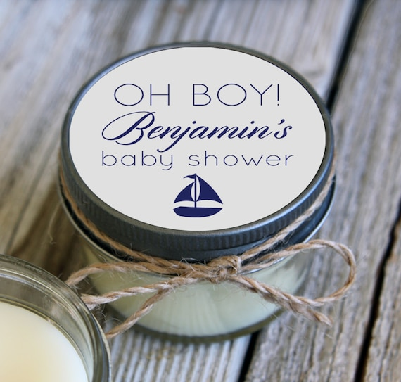 Set of 12 - 4 oz Sailboat Baby Shower Favor Candle- Personalized Baby Shower Favors // Ahoy its a Boy// Favors