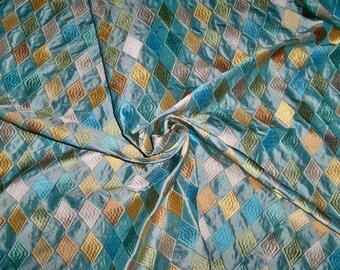 STROHEIM & ROMANN DIAMONTE Harlequin Diamonds Embroidered Silk Fabric 16 Yards Aqua Multi