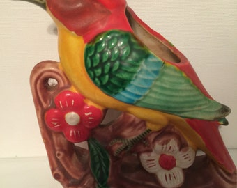 """Bird Planter Vintage Bright Colored Bird Tropical Parrot  Made in Japan """"SALE"""""""
