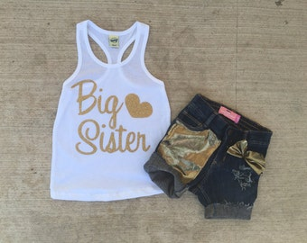 Girls Sparkle glitter tank top and matching jean shorts, perfect gift, big sister, matching mommy top available.