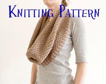 PDF Knitting Pattern - Frost Cowl, Scarf Knitting Pattern, Knit Infinity Scarf Instructions, Adult, DIY Knit Cowl