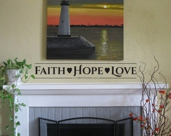 "Vinyl Wall Decal ""Faith Hope Love"""