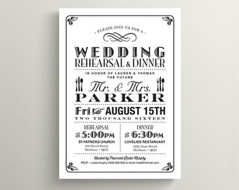Printable Wedding Rehearsal and Dinner Invitation - Poster Design // Black and white (RD42)