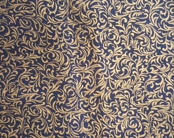 Metallic Scroll on Navy by Hoffman Fabrics