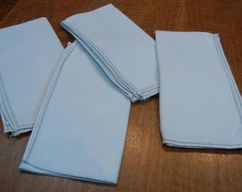 4 pale blue linen napkins - vintage - mid-century