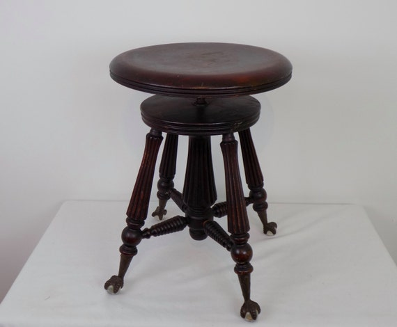 Sale Antique Wood Turned Swivel Piano Stool With Glass Ball
