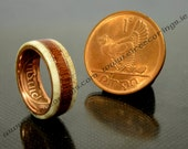 Deer antler wedding band ring with recycled Mahogany wood and a double copper inlay.