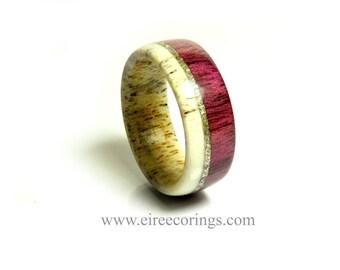 Alternative wedding ring designs deer antler and purple heart wood