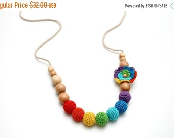 SALE 25% off Crochet Rainbow Juniper Nursing Necklace with rainbow crochet flower - Woldorf toy Spring  accessory