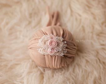 Hadley Newborn Tieback, Newborn Rosette Tieback, Newborn Photo Prop, Beige and Pink Headband