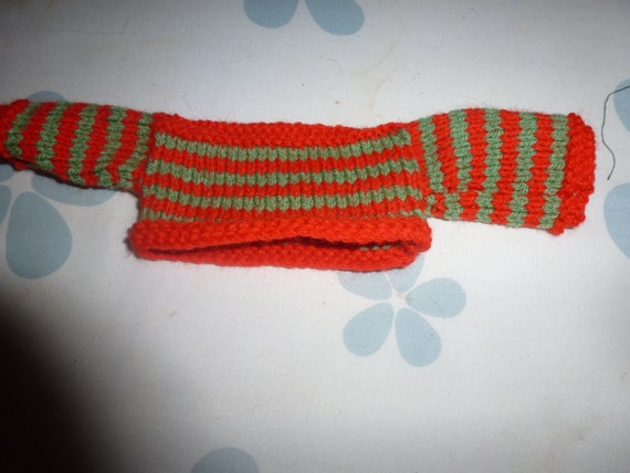 Knitting Pattern For Jumper For Pg Tips Monkey : Hand Knitted Striped Sweater Fits PG Tips Small Monkey