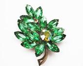 Green Rhinestone Flower Brooch