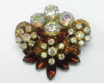 verified D and E Autumnal 1950's JULIANA DIMENSIONAL BROOCH / Delizza  Elster, Amber Gold Iridescent Rhinestones / Costume Jewelry Jd2-150