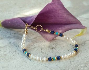 White Pearl Bracelet with Natural Lapis Lazuli, Genuine Sleeping Beauty Turquoise, Gold Pyrite, 14K Gold Filled Clasp and Findings, Handmade