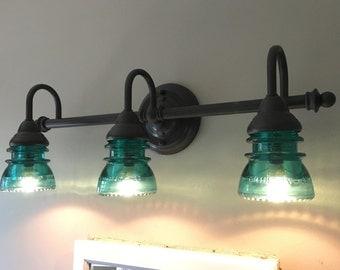 Insulator Glass Vanity Light : Glass insulator Etsy
