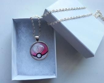 Love Ball Pokemon Pokeball Glass Pendant Necklace