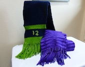 Hand Knit and Felted Wool Scarf with Fringe