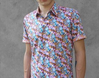 Mens purple floral shirt, short sleeve - Scooby Doo - BAÏSAP