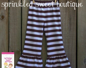 Big Ruffle Brown White Stripe Girls Pants Perfect for Christmas Valentines Cute Matches Applique Shirts
