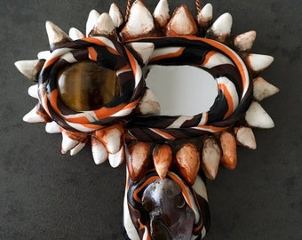 Mini Vagina Dentata Mirror Fruitbowl with Tiger's Eye and Fire Agate