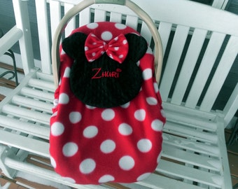MadeTo Order Personalize Minnie Mouse Car Seat Carrier Cover Using Disney Like Font  Message Me Baby's Name And I Will Make One Just For You