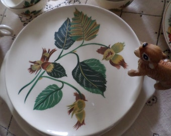 21 Pieces-Vintage Universal Potteries Ballerina-Hazelnut/Filbert-Dinner Plates/Dessert Bowls/Tea-Coffee Cups/Cake Plate/Platter Dishes