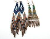 Custom order for anariva, Native American beaded earrings, boho earrings, hippie earrings, ethnic earrings, brown, green and gold