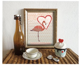 Pink Flamingo Art Print, Love Sign, Flamingo Poster, Wall Art, Love Home Decor, Animal Art, 8x10in