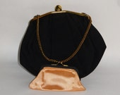 Vintage Black Pleated Purse with Gold Trim includes Change Purse