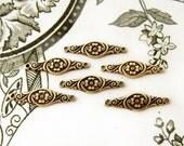 Art Nouveau Antiqued Brass OX Victorian Flower Scroll Connector Link 21mm - 6