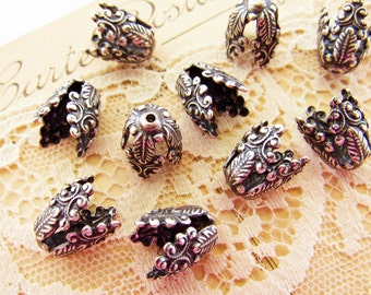Ornate Victorian Antiqued Silver Ox Tall Bead Caps 13mm Long Cone Shaped - 4
