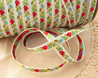 Vintage Woven Jacquard Ribbon Red Rose Buds Blue Flowers – 1 Yards