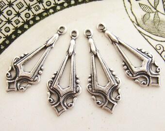 Antiqued Silver Ox Edwardian Art Deco Earring Dangles Drops Pendants - 4