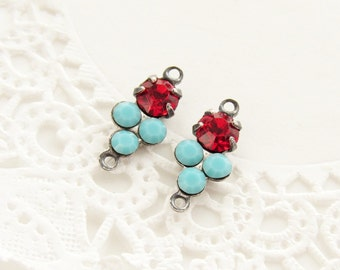 Petite Ruby Red and Turquoise Swarovski Rhinestones Round Stones in Antiqued Silver 2 ring Connector Settings - 2