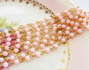 Vintage Pale Pink Beaded Rosary Chain 4mm Round Plastic Beads Brass Links – 2 Feet
