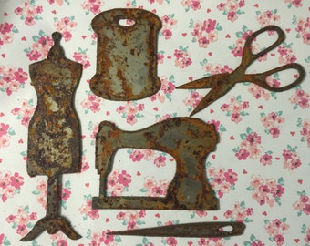 The Dress Maker Rusted Metal Seamstress Set Sewing Decor Symbols Rusty Objects Home Decor Wall Hangings Rusty Metal Victorian Sewing Shapes
