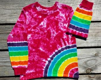 Toddler Girls Long Sleeve Pink Rainbow Tie Dye Shirt,  2T 3T 4T  Hippie Kids, Toddler Tie Dye T-Shirt, Girls Tie Dye