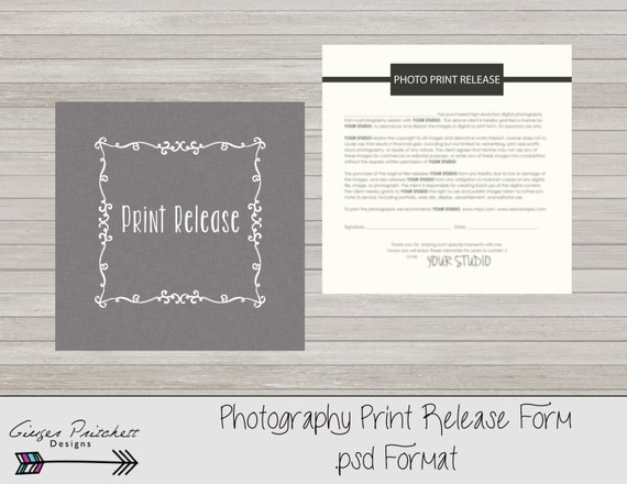 Copyrights Release Form Print Release Form Photography Print
